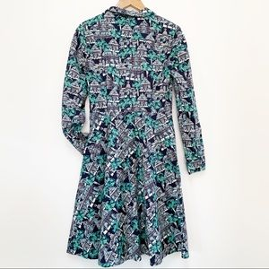 BODEN Long Sleeves Navy and Green Shirt Dress 6R
